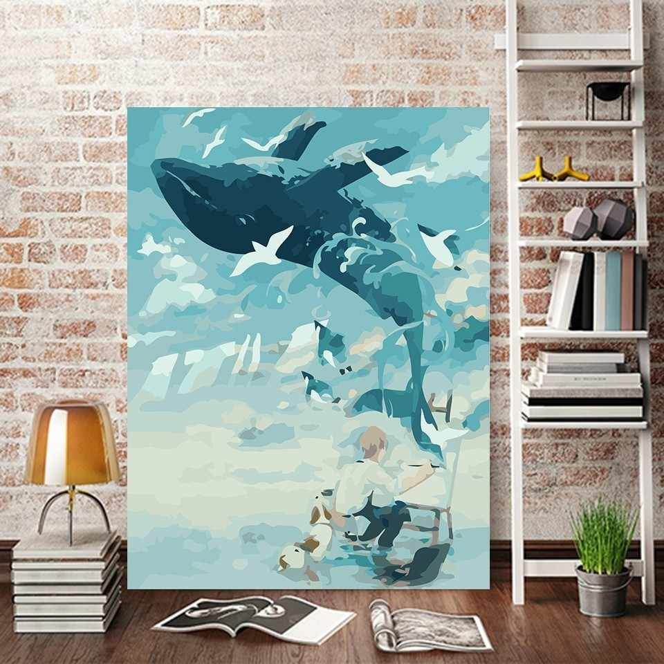 DIY Abstract Oil Painting Play The Piano By Numbers Whale Paint Canvas Wall Home