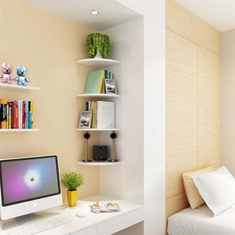 e82ab5aafa US $10.59 40% OFF 1 pc Storage Rack Decorative Creative Wall mounted Wooden  Triangle Fan Shape Sundries Organizer Corner Shelf Bookshelf-in Storage ...