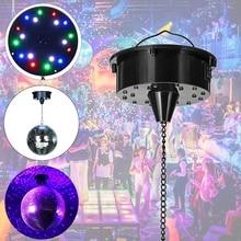 Bola giratoria de cristal con Control de sonido 18 luces LED, bola de cristal giratoria para espejo para discoteca, espejo con Motor, Bola de reflexión colgante para luz de discoteca Fiesta de DJ