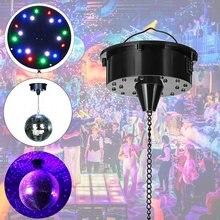 Controle de som 18 luzes led vidro rotativo espelho bola de discoteca motor espelho reflexão bola pendurado para disco dj festa luz