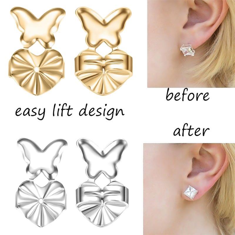 MISS M European And American Style Butterfly Shape Copper Earrings Stud Aid Earrings Buckle Lifter