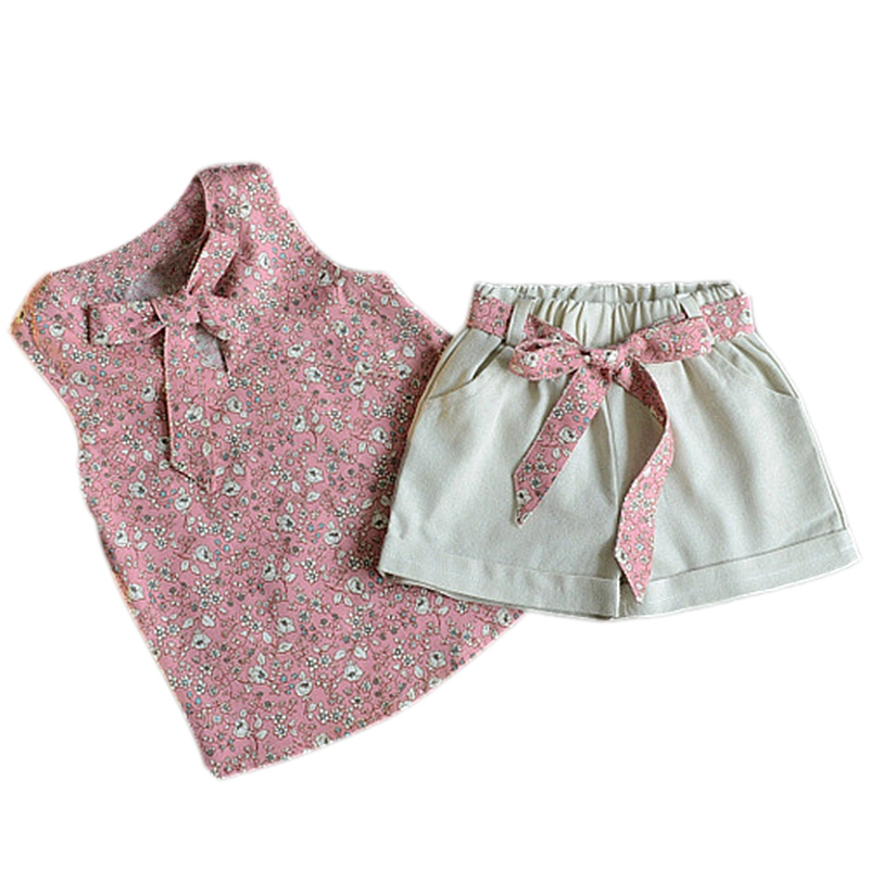 Summer time Woman Clothes Children Style Small Floral Bow Vest Shorts Two-Piece Put on Child T-Shirt Garments Swimsuit Roupas Infantis Menina Clothes Units, Low cost Clothes Units, Summer time...