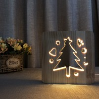 Novelty Christmas Tree Lights LED 3D Wooden Lamp Children Baby Kids Birthday Gifts Wood Decoration Bedside Lamps For Bedrooms