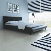 VidaXL Черный крепкий деревянная кровать 160X200 см 242053 высокое качество с имитацией кожи обивка легкая конструкция