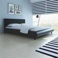 VidaXL Black Sturdy Wooden Bed 160 X 200 Cm 242053 High Quality Bed With Imitation Leather Upholstery Easy Construction