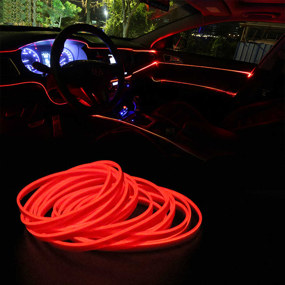 FORAUTO 1M, tira de luces decorativas con cable de neón Flexible para EL coche, luces automáticas, decoración Interior para EL coche, luces LED frías de 12V
