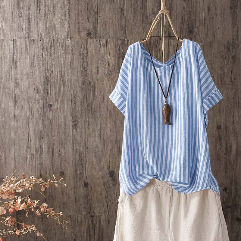 ZANZEA 2019 Summer Women O Neck Short Sleeve Striped   Shirt   Casual Vintage   Blouse   Ladies Work OL Blusas Chemise Loose Top Tunic