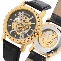 Top Luxury Brand Men's Watch Crystal Diamond Gear Bezel Automatic Self Wind Mechanical Clock Male Watches Man reloj para hombre