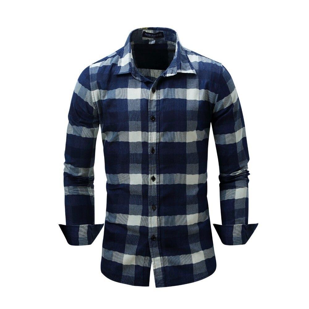 USA SIZE Shirts Plaid Men Casual 100% Cotton Chemise Homme Men Long Sleeve Shirt Mens Classic Shirts Camisas Para Hombre FM085