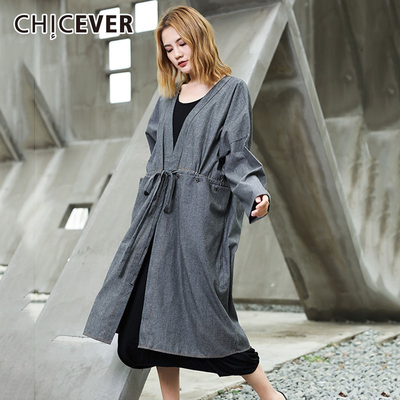CHICEVER Autumn   Trench   Coat For Women V Neck Long Sleeve High Waist Drawstring Lace Up Oversize Windbreaker Fashion New