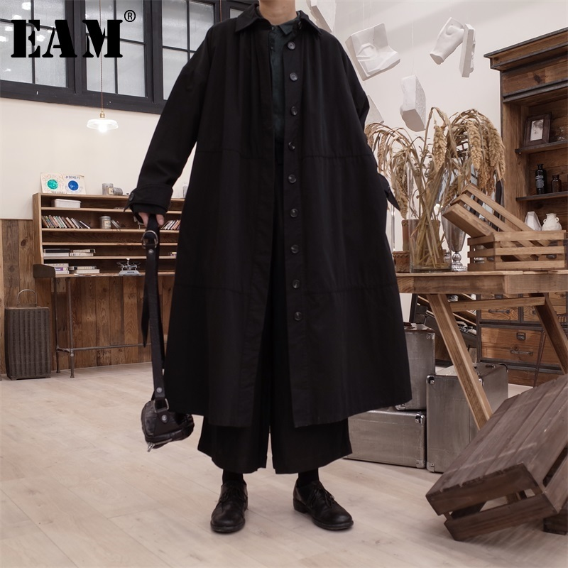 [EAM] 2020 Spring Woman New Stylish Black Color Long Sleeve Turn-down Collar Long Loose Single Breasted Trench Coat  LI419