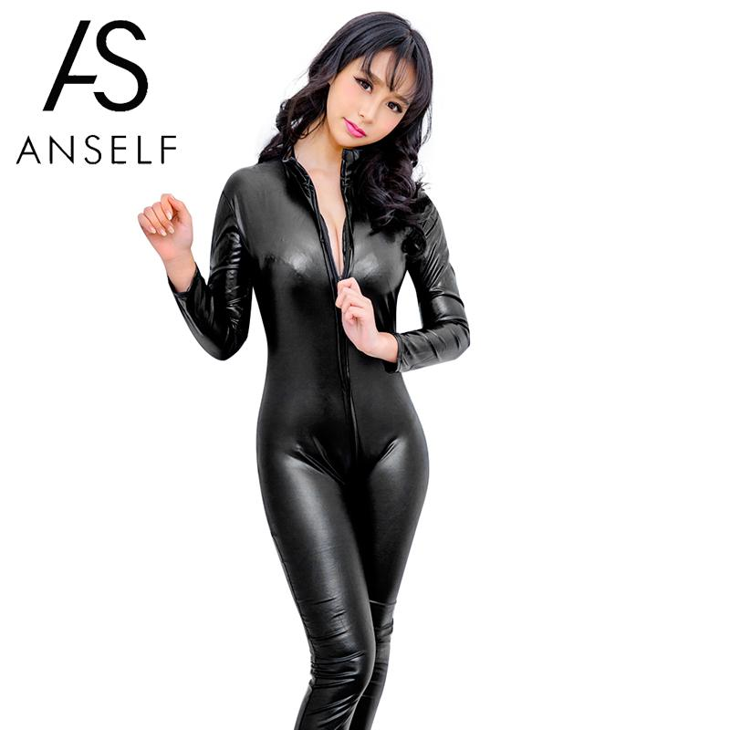 Sexy Faux Leather rompers womens jumpsuit Long Sleeve Zipper Skinny Pants Bodycon Jumpsuit 2019 Teddy Lingerie Catsuit Black(China)