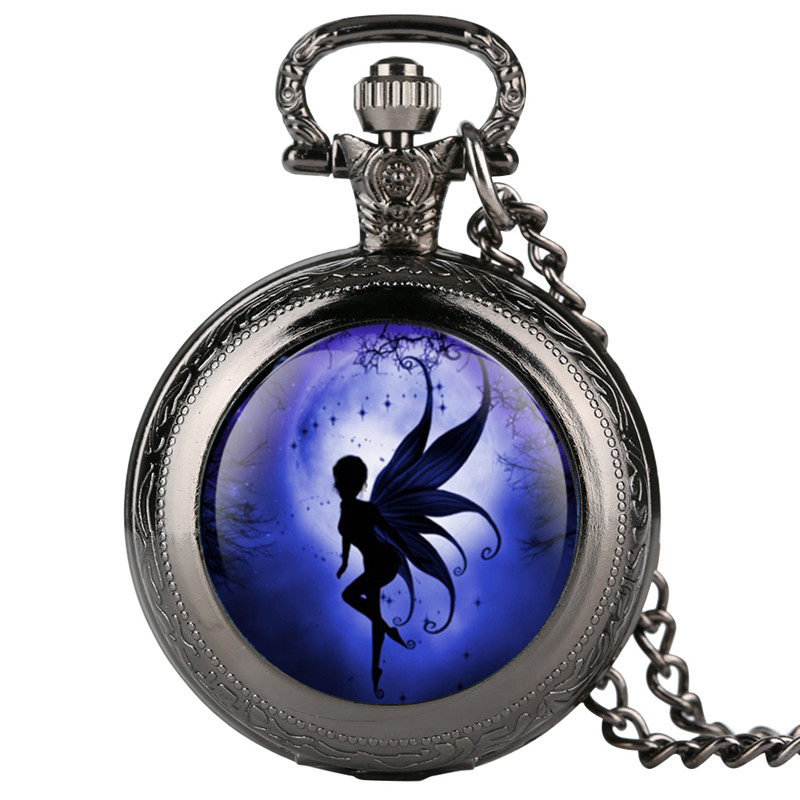 Watch Chain Elegant Women's Pocket Watch Fairy Angels On Moon Pocket Watches Charm Jewelry Necklace Pocket Watch Vintage