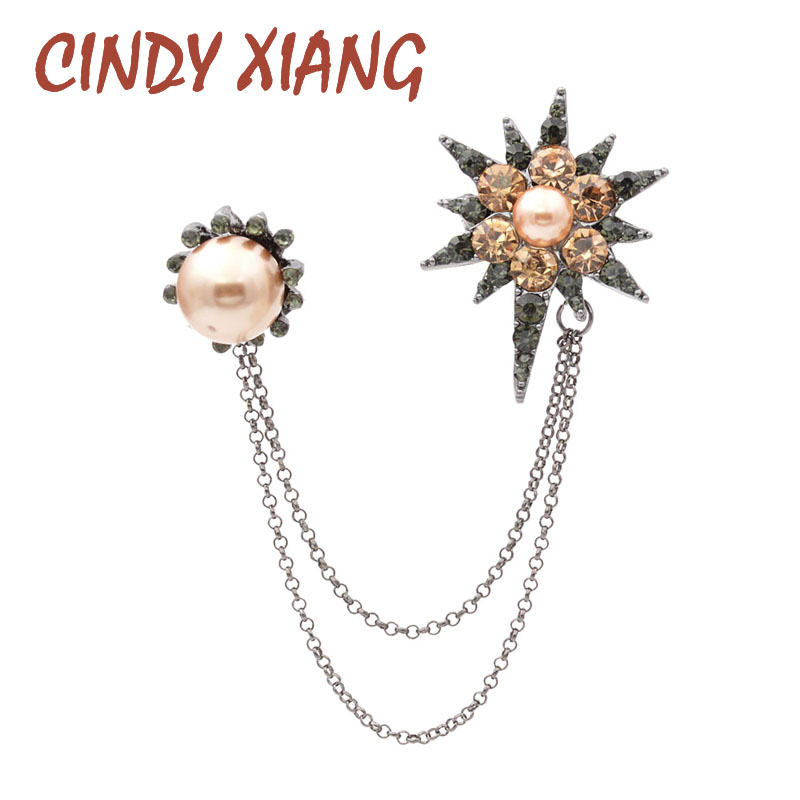 CINDY XIANG 4 Colors Choose Rhinestone Star Tassel Brooches for Women and Men New Double Brooch Collar Accessories High Quality