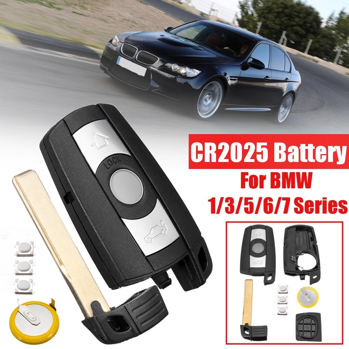 With Blade Battery 3 Button Remote Car Key Shell Case Styling Cover Trim For BMW 1 3 5 6 7 Series E90 E92 E93 E60 E61 X1 X5 X6(China)