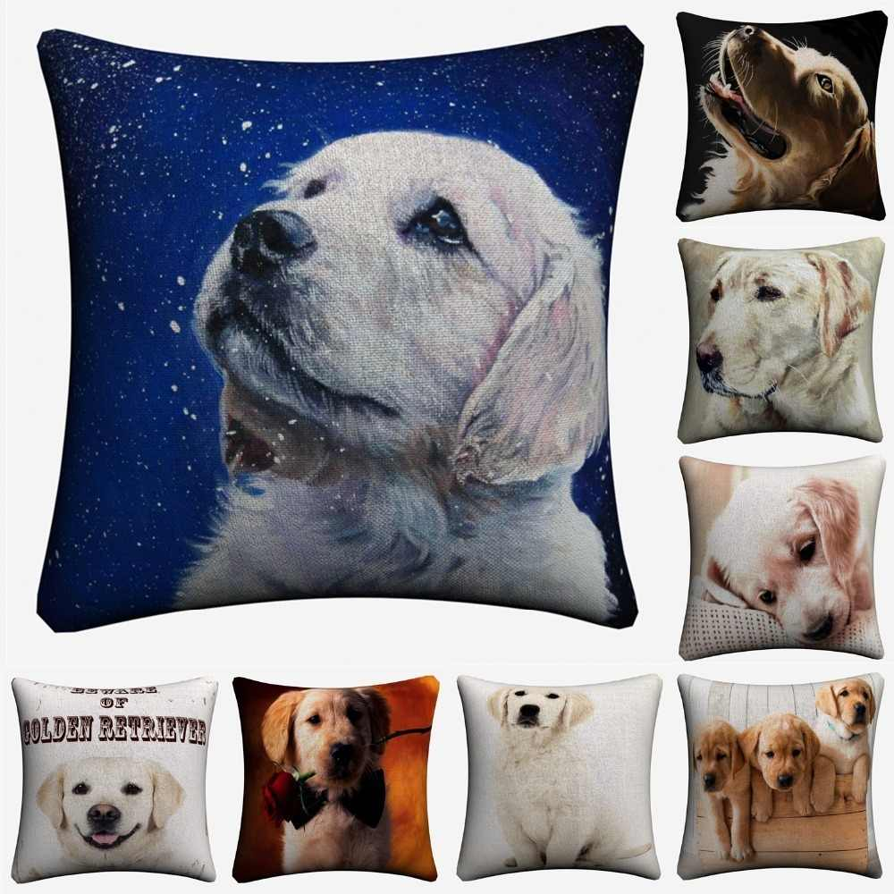Golden Retriever Cute Dog Pet Decorative Linen Cushion Cover For Sofa Chair 45x45cm Throw Pillow Case Home Decor Almofada