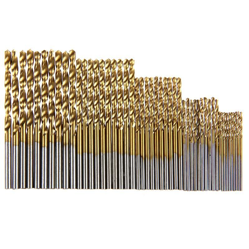 50Pcs/set HSS Titanium Coated Drill Bits High Speed Steel Drill Bits Set Tool High Quality Power Tools 1/1.5/2/2.5/3mm
