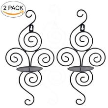 2 Pcs Gold Iron Round Hanging Candle Tea Light Holder Candlestick Party Home Decor Wall Hanging Candle Holder Sconce