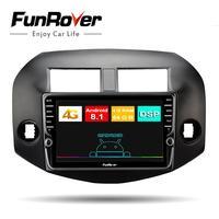 Funrover android 8,1 2 din Автомагнитолы мультимедийный плеер для toyota rav4 2005 2013 dvd gps навигация vedio стерео DSP SIM 64G USB