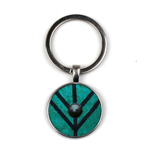 Viking Shield Keychain Glass Time Gem Key Jewelry Custom Photo Personality Gift personalized Keychains gifts for men