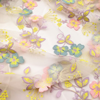 1Meter High grade Imported Mesh Embroidered Fabric Heavy Industry Water Soluble Lace Embroidery DIY Wedding Dress Fabric