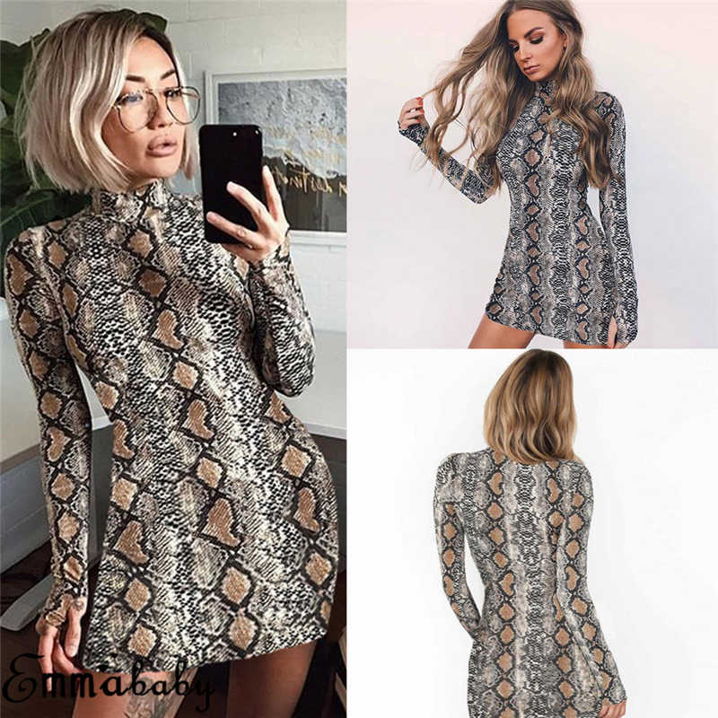 Women Long Sleeve High Neck Snake Skin Print Package Hip Bodycon Mini Dress  Sheath Dress Clothing 419e443e5