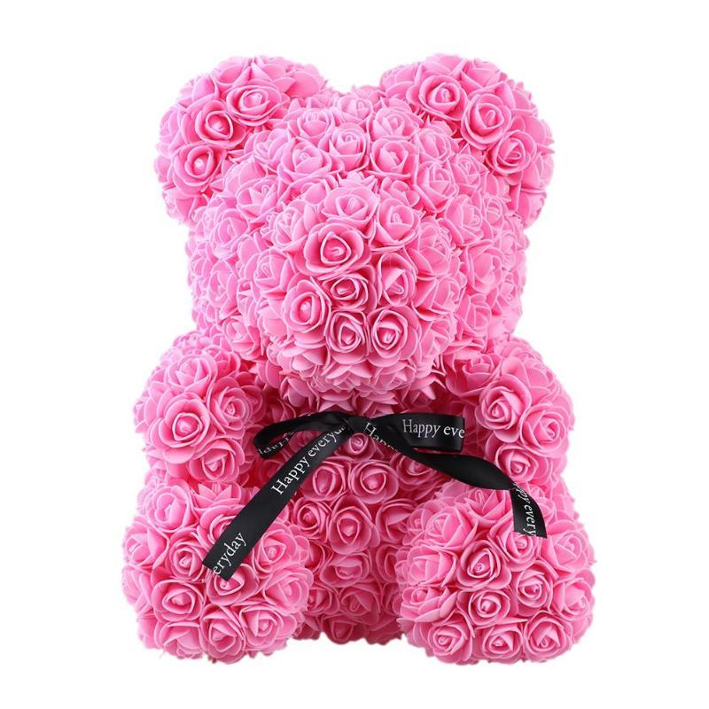 Beautiful Cute Pe Rose Bear Toy For Girl Friend Plastic Foam Rose Flower Teddy Bear Valentines Day Gift Wedding Decoration Festive & Party Supplies