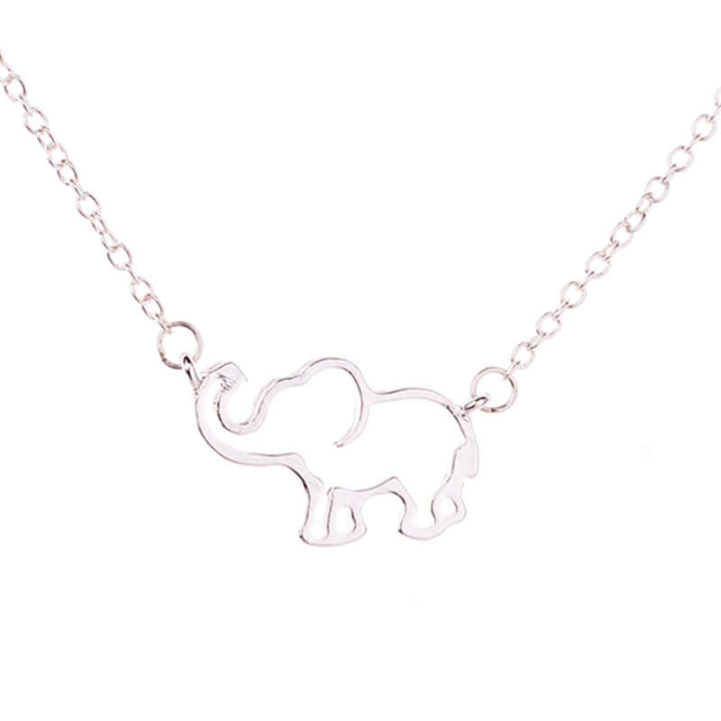 charm long elephant pendant necklace gold silver chain long stainless steel necklace jewelry valentines day gift for women girls