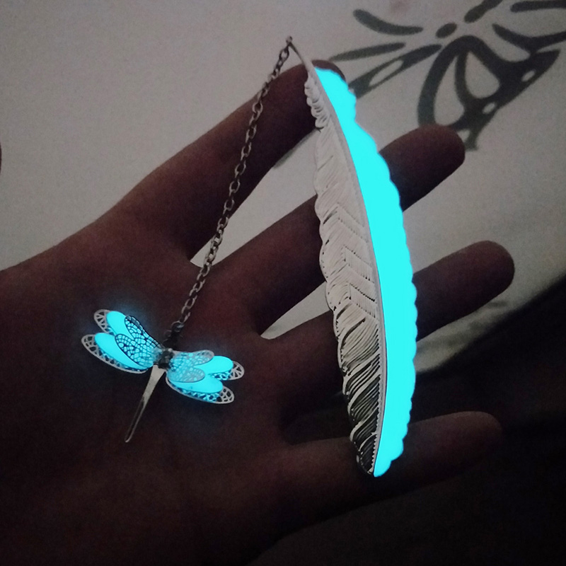 Luminous Feather Bookmark Creative Dragonfly Butterfly Retro Metal Book Marks For School Supplies Kawaii Stationery  Girls Gift