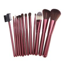 12Pcs Rose Red Makeup Brushes Set Eyeshadow Eyeliner Eyebrow Blush Foundation Brush Real Nature Wool Cosmetic Tool Kit