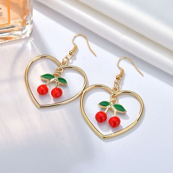 Sweety Fruit Cherry Drop Earrings for Women Girls Shining big hollow Heart Hanging Dangle Earrings Femme.jpg 350x350 - Sweety Fruit Cherry Drop Earrings for Women Girls Shining big hollow Heart Hanging Dangle Earrings Femme Fashion Jewelry Gifts