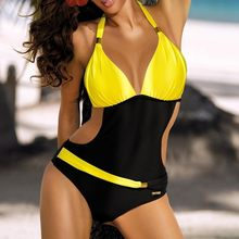JRNNORV New One Piece Women Sexy Padded Female Swimsuit Halter Push Up Plus Size S-2XL Swimwear BC0055(China)