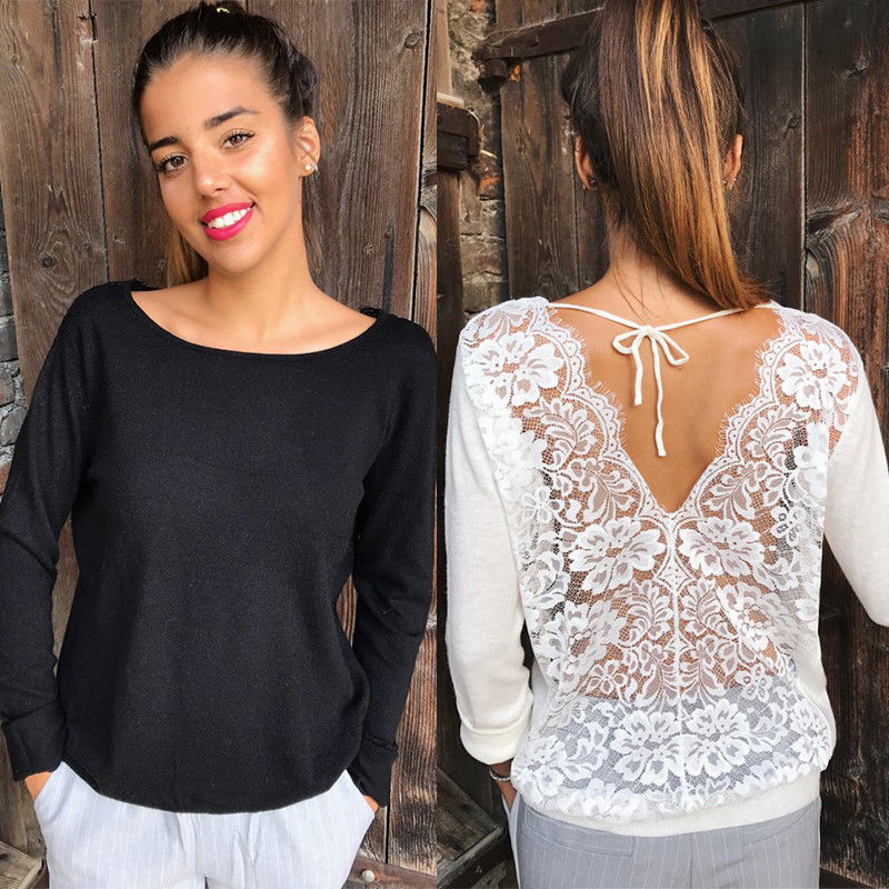 2019 New Sexy Women Lace T-Shirt Loose Long Sleeve Tops Floral Lace Up Back Deep V Neck Shirt Streetwear Casual Cotton T-Shirt
