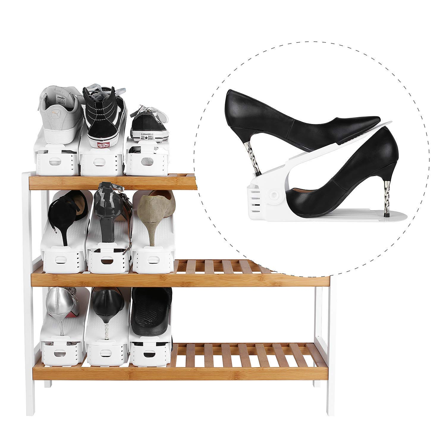 Image 5 - Best Lot DE 10 Adjustable Shoe Support For To Stack Shoes Shoe Organizer Space Saver a Shoes Support Rack Plastic White-in Shoe Racks & Organizers from Home & Garden