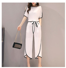 Fashion Women T Shirts Wide Leg Pant Casual Two Piece Sets Short Summer Woman Tops Suits