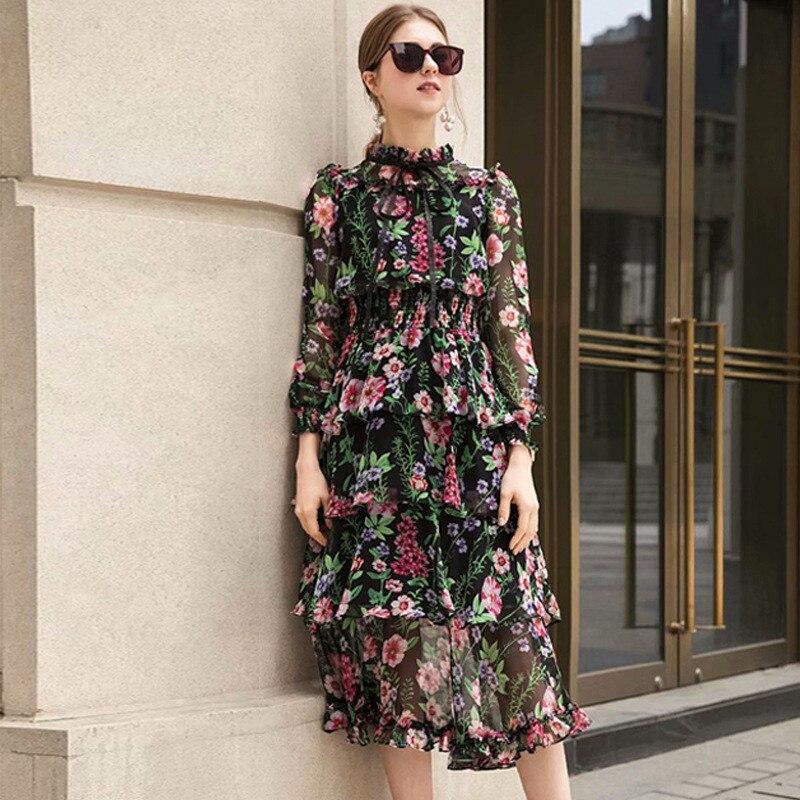 De Fête Floral Femme D'été Longue À Pour Clohitng Robe Élégant Noir Longues Manches 2019 Femmes Imprimé Tunique Ruches Designer EABqaaC