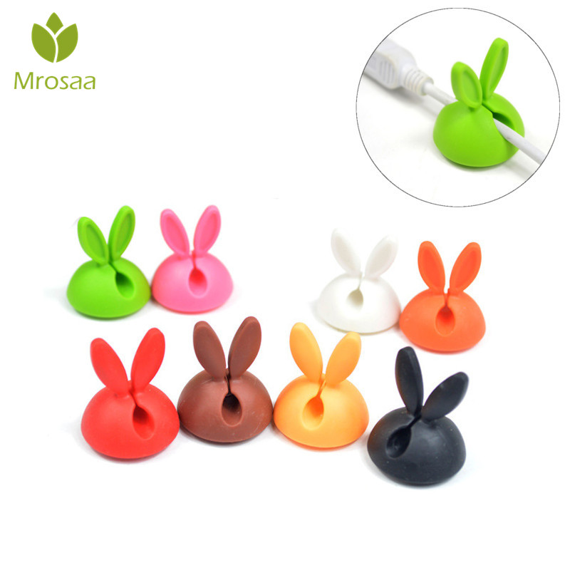 4/6Pcs Desk Set Rabbit Wire Clip Organizer Office Accessories Winder Wrap Cord Cable Storage Manager For USB Keyboard Lines