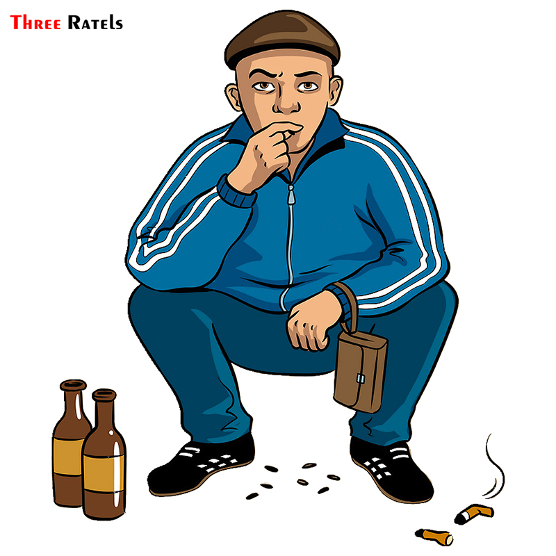 Three Ratels TRL743# 13x15cm   Funny Car Stickers Gopnik Hooligan Squatting And Drinking And Smoking Car Stickers And Decals