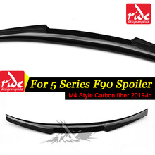5-Series F90 Carbon Fiber Car Rear Spoiler Lip Wing For BMW F90 M4 Style Black Rear Trunk Spoiler Tail Wing Car Styling 2019-in