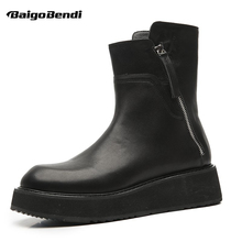 Hot ! British  Boots Men Full Grain Leather Soliders Riding Boots Man Thick Heel Winter Chelsea Boots Casual Shoes