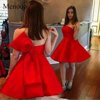 Menoqo Red A line Mini Strapless Back with Bow Tie Prom Gowns Satin Short Cocktail Dress 2019 graduation party Gowns