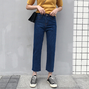 Jeans For Women Casua LRipped Jeans Denim Pants 2019 Ankle-Length high Waist Loose Fashion Straight Pants Trousers new fashion jeans for women personality tassel hole denim ankle length pants casual female jeans straight trousers autumn