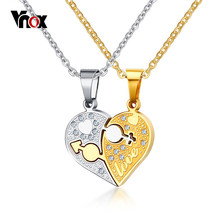 "Vnox Rhinestone Charm Pendant Necklace Love Heart Shaped 20"" O Link Chain Necklace Gift Jewelry Accessories Silver Gold-Color(China)"