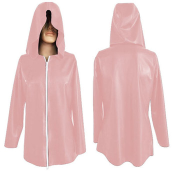 Latex Rubber Women Cute Pink Top Hooded Coat With White Zipper Size XXS-XXL