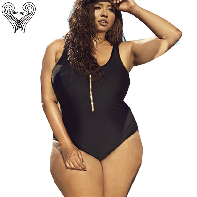 0673c354e71 XL - 4XL Plus Size Swimsuit Zipper Front Padded Swimwear One Piece Swimming  Suit For Women 2019 New Large Bathing Suits Badpak