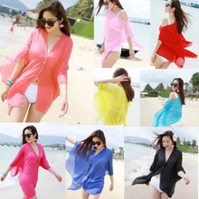 5a512e818c50d Solid Beach Gauze Sexy Women Girl Beachwear Bikini Swimwear Cover Up Kaftan Beach  Wear Summer Candy Color Beach Dress Sundress