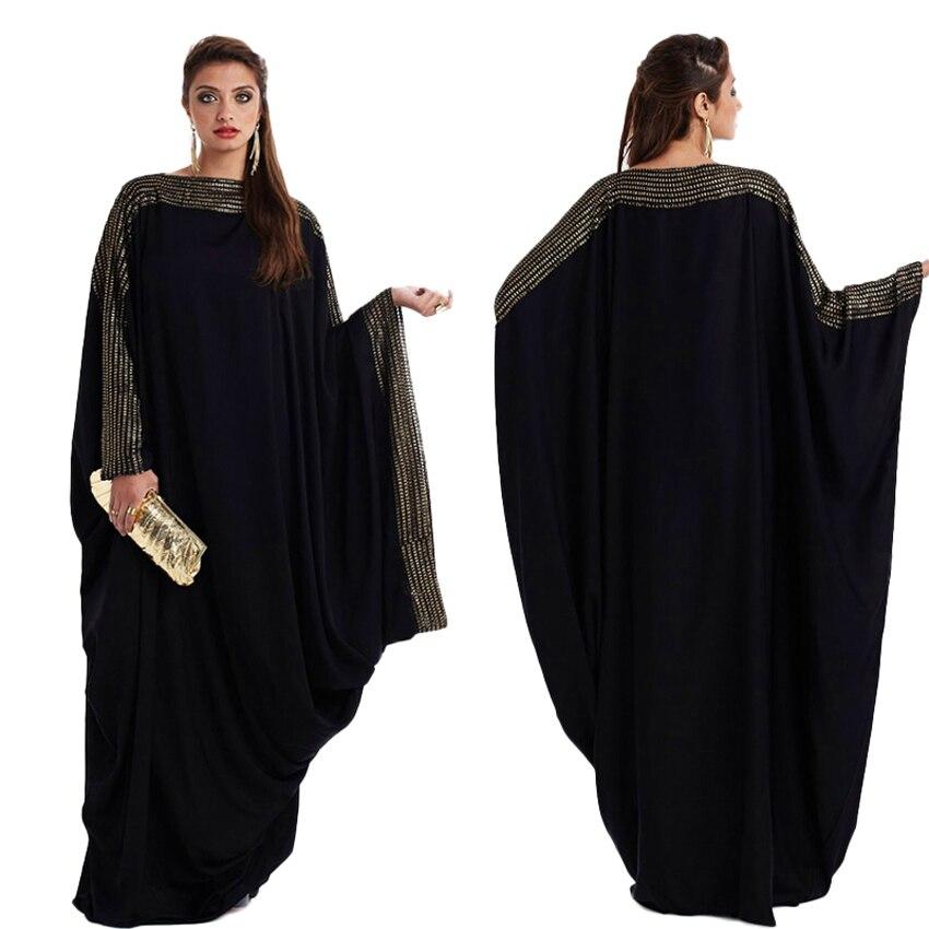 M-5XL Bat Sleeve Woman Black Muslim Abaya Dress Kaftan Loose Plus Size Arab Islamic Ramadan Worship Service Elegant Clothing