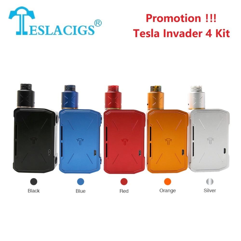 Promotion vente Tesla Invader 4 Kit avec double bobine bâtiment RDA & 5 niveaux tension Variable kit Vape vs glisser 2/Tesla punk/Luxe