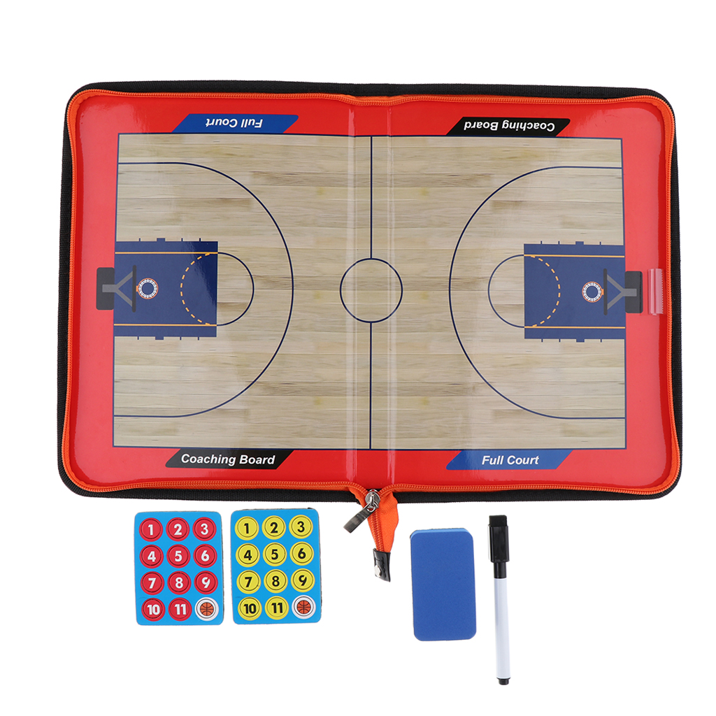 1 Set Professional Artificial Leather Fold-able Magnetic Coaching Board With Magnetic Stylus For Basketball Games Detail Tactics