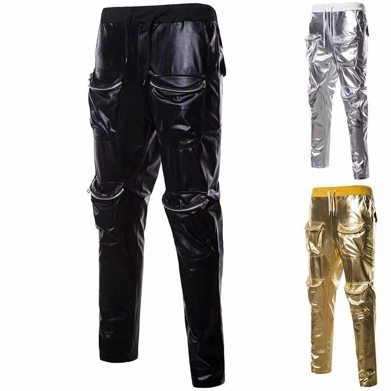 2019 yeni erkek altın pantolon gösterisi parti giyim gümüş kargo pantolon fermuarlı moda erkek uzun pantolon pantolon artı boyutu streetwear